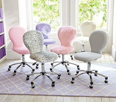 The desk chairs for kids are just to cute Round Upholstered Desk