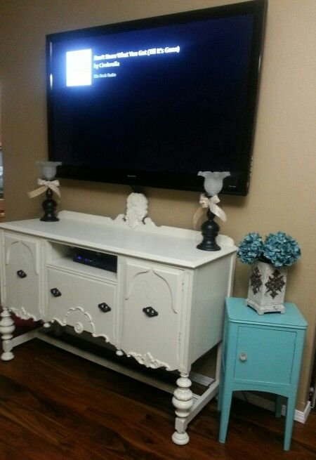 Antique Buffet Turned Into Tv Stand Added Wood Piece To Back Hide Cords