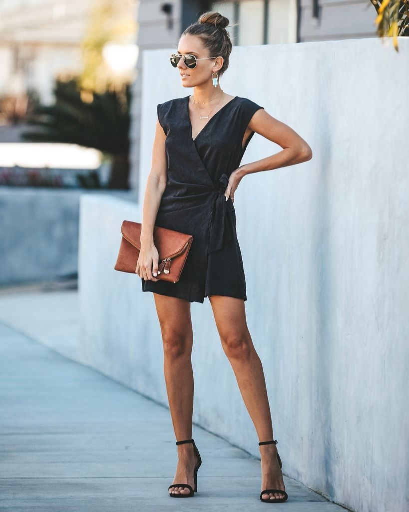 93c84983228 Click to shop our website or follow us at  VICIDOLLS for all the latest  updates + fashion inspo! Special Edition Cotton Wrap Romper - Dusty Black
