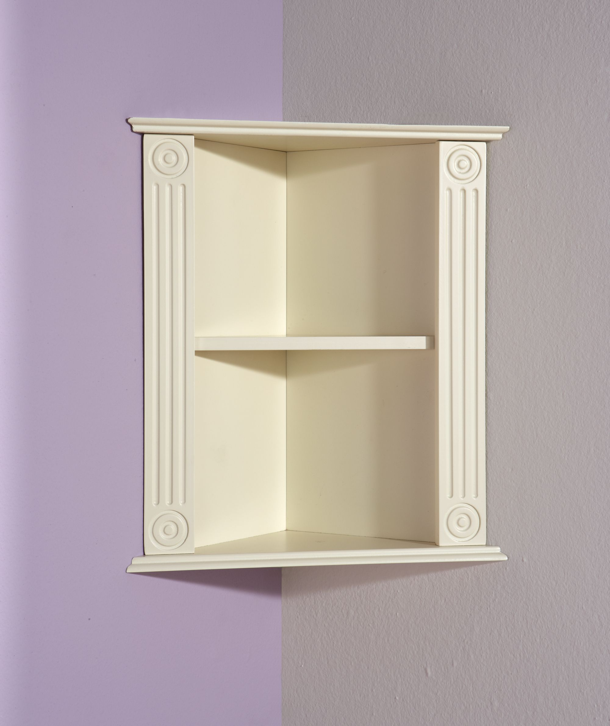 Furniture white wooden Floating Corner Shelf pleted by horse