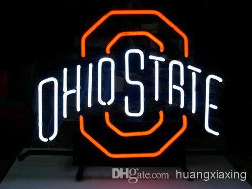 new ohio state buckeyes real glass neon light beer pub sign cheap neon signslight