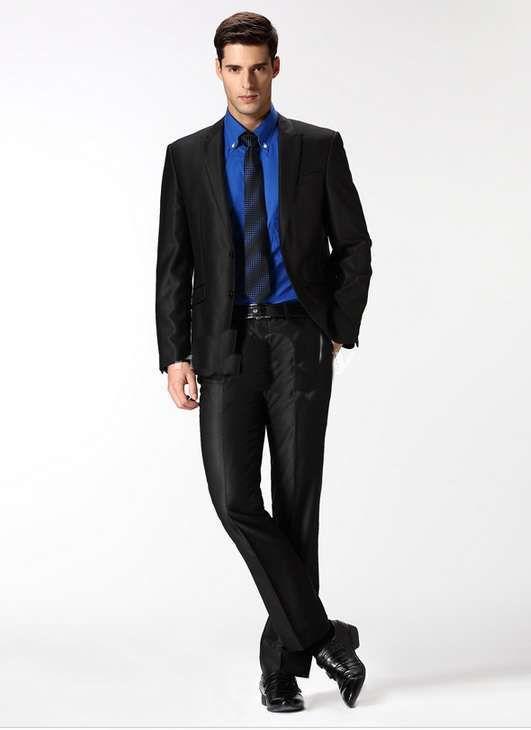 men-suits-for-wedding-Peak-Lapel-Black-Shiny-Gorgeous-Grooms-Suits ...