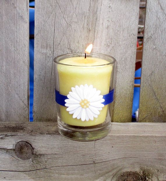 Daisy Wedding Décoration / Wedding Votive by CarolesWeddingWhimsy, $19.99, set of 6, Daisies are fabulous for the Fall...combine them with a Royal Blue and they are PERFECT.  Check them out at  https://www.etsy.com/listing/200437731/daisy-wedding-decoration-wedding-votive