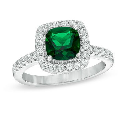 Zales 7.0mm Cushion-Cut Peridot and Lab-Created White Sapphire Frame Ring in Sterling Silver - Size 7 V8fs5