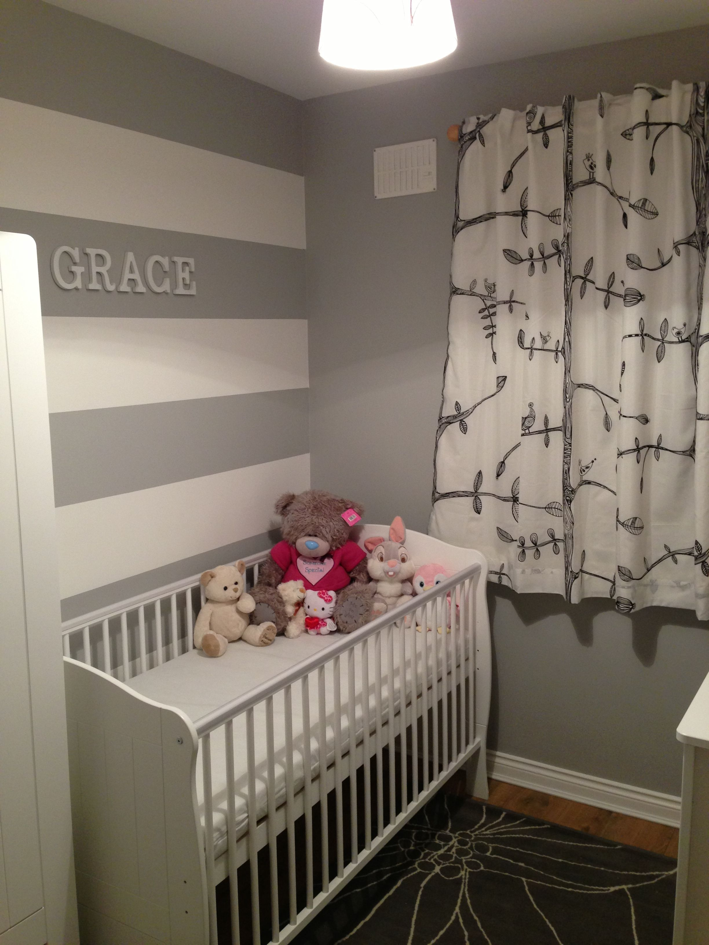 Grey And White Striped Wall In Nursery Grey Striped Walls Gray
