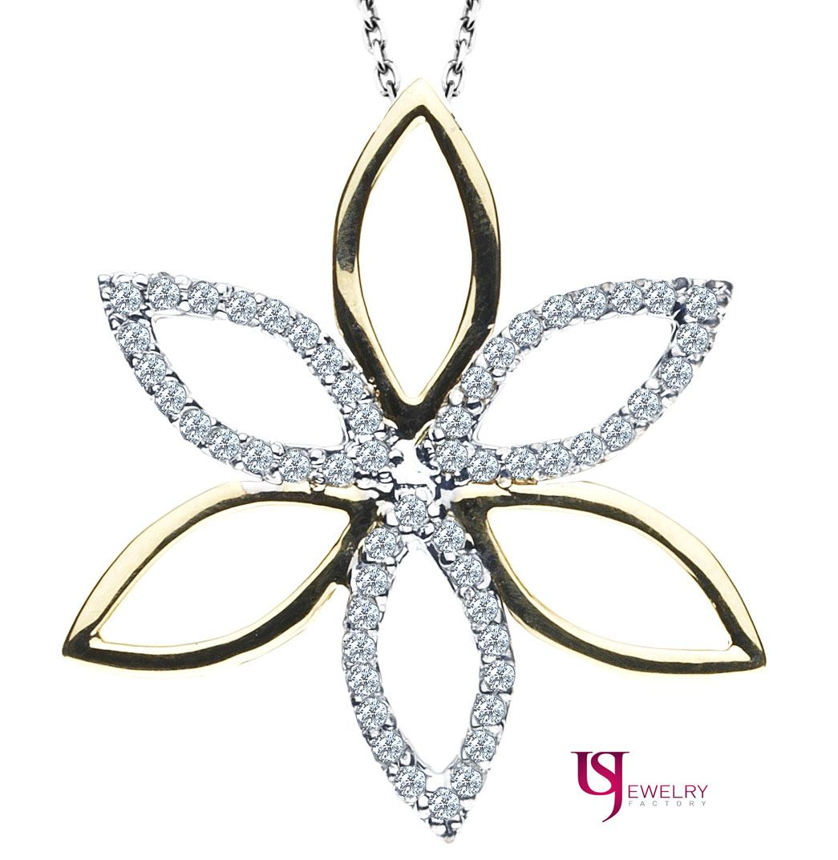 Diamond Encrusted Floral Pendant 14k Two Tone White Yellow Gold