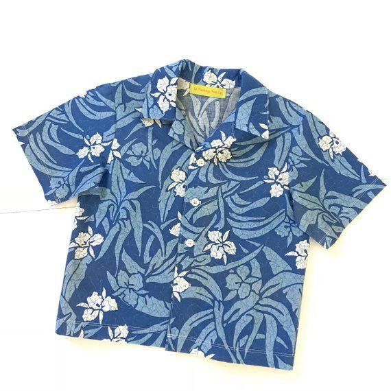 3f37bb5a3 Little Boys Blue Hawaiian Shirt, Toddlers Orange Tropical Print Shirt, Kids  Aloha Wear, Toddle