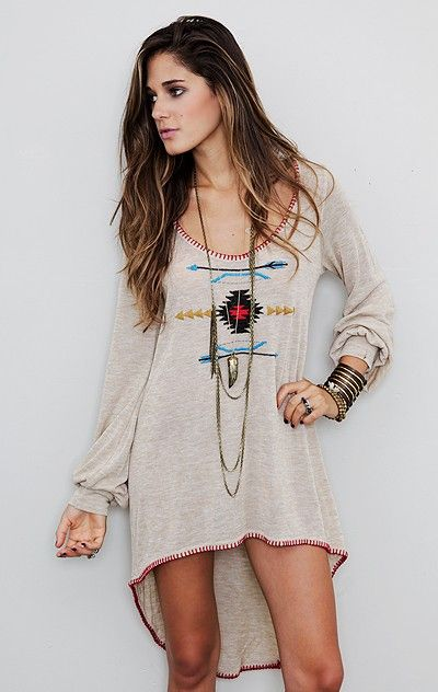 Love tribal. Would be great with leggings. Comfy.
