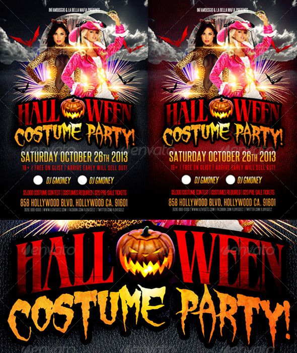 Halloween Costume Party Event Flyers Print Templates And Font Logo - Halloween costume party flyer