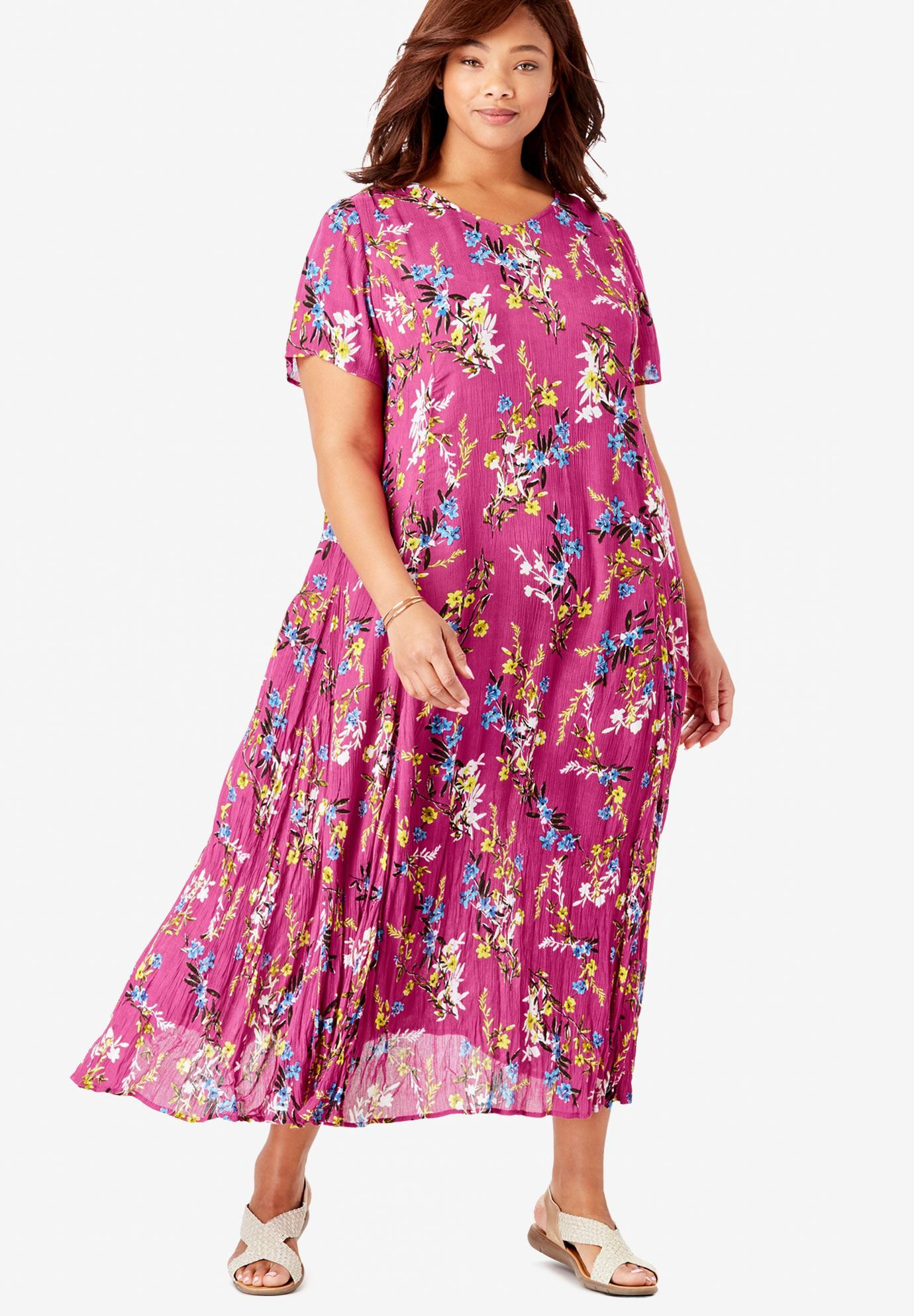 Crinkle Dress, BRIGHT BERRY FREE FLORAL   Fashion   Dresses ...