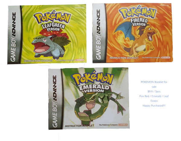 Pokemon booklet--Leaf Green--Emerald--Fire Red--(No Game)