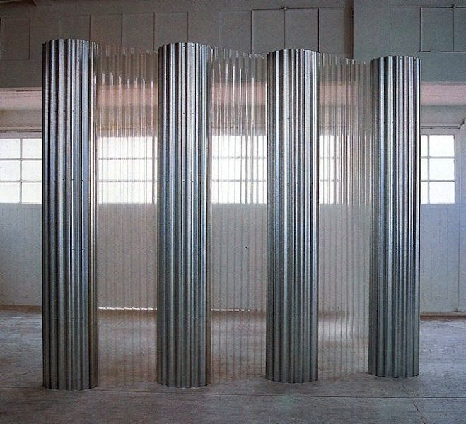 Corrugated Metal Columns With Corrugated Vinyl Panels