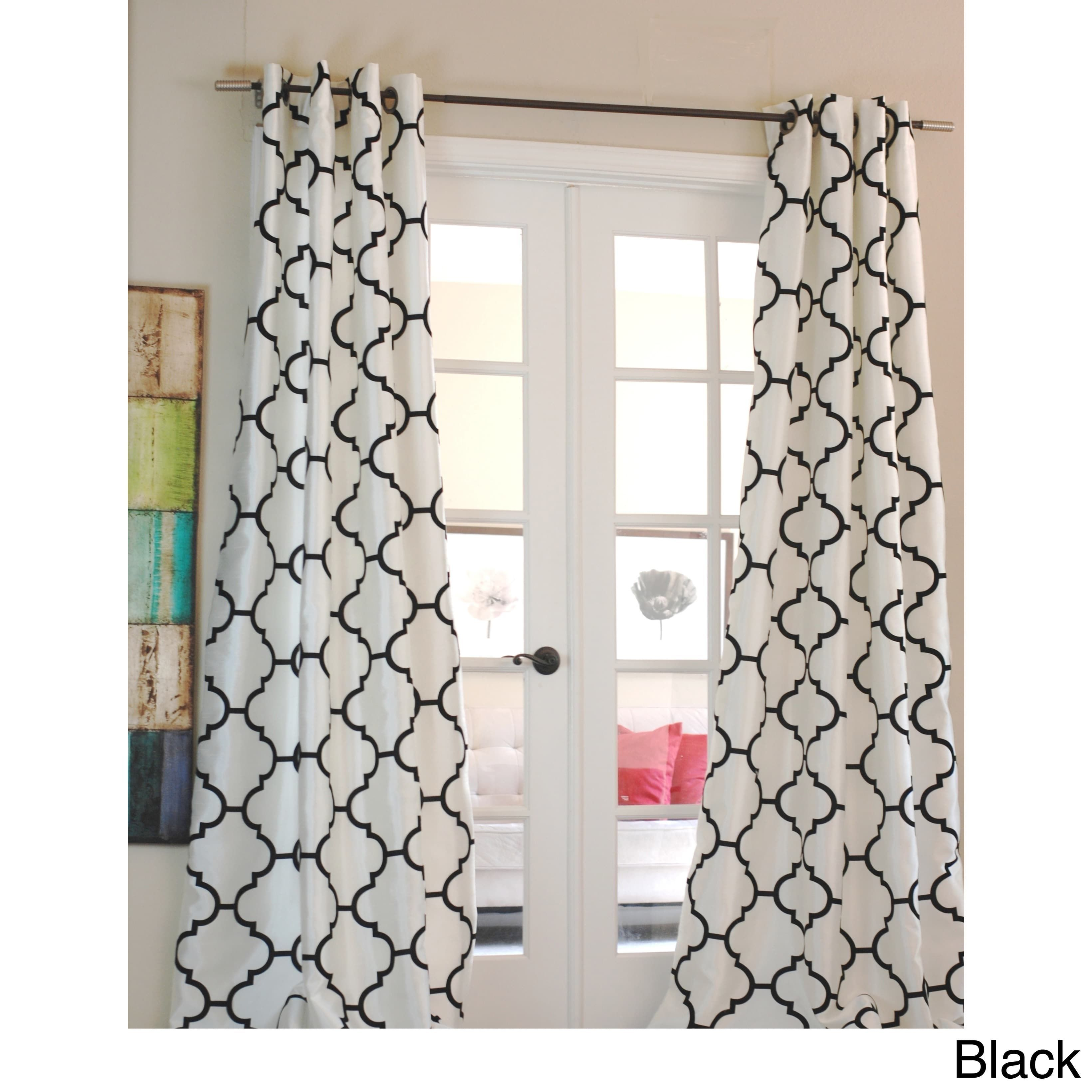 Exclusive Morocco Flocked Faux Silk Grommet Top 96 Inch Curtain Panel