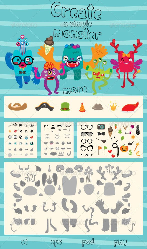 Create a Simple Monster Мультфильмы, Рисунки, Для детей