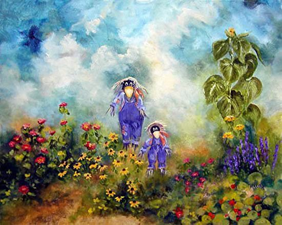 "Scarecrow Garden by Marina Petro Oil ~ 16"" x 20""  http://marinapetro.faso.com/workszoom/1863766"