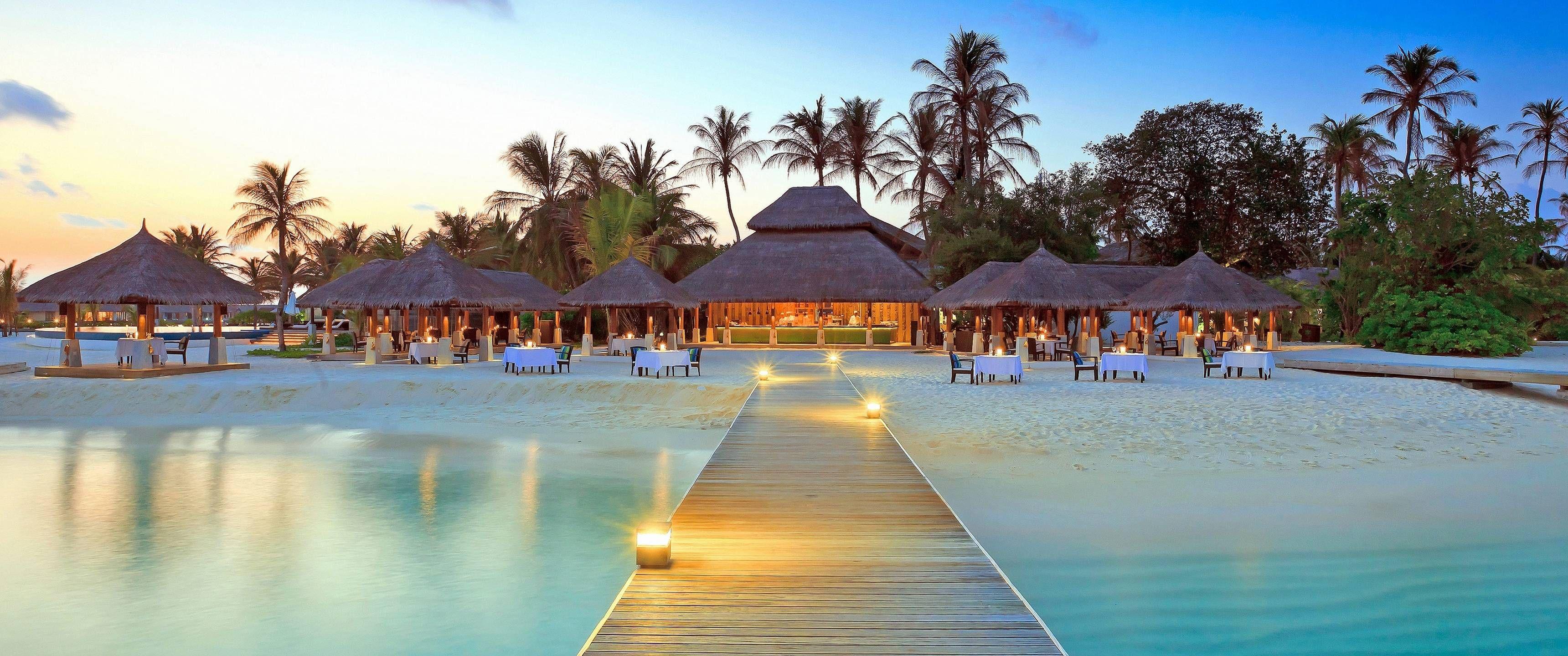 3440x1440 Tent House wallpaper Vacation, Maldives resort