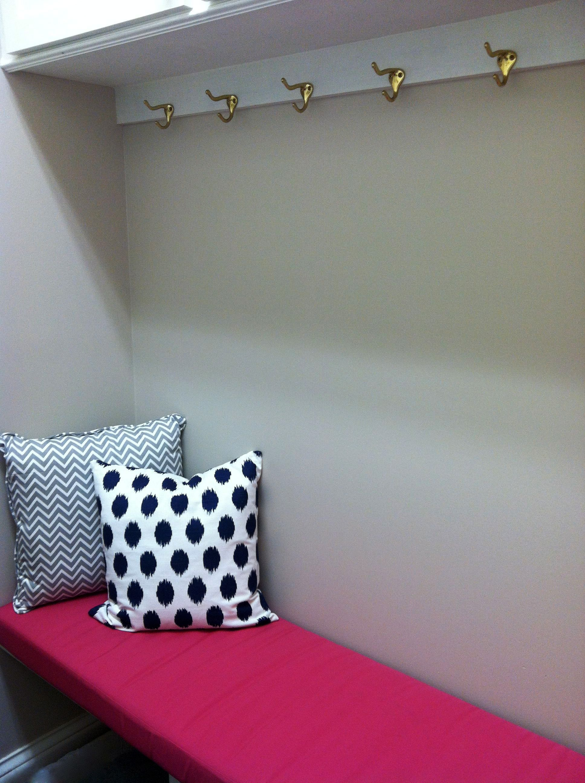Customer photo hot pink cushion and pillows in mudroom