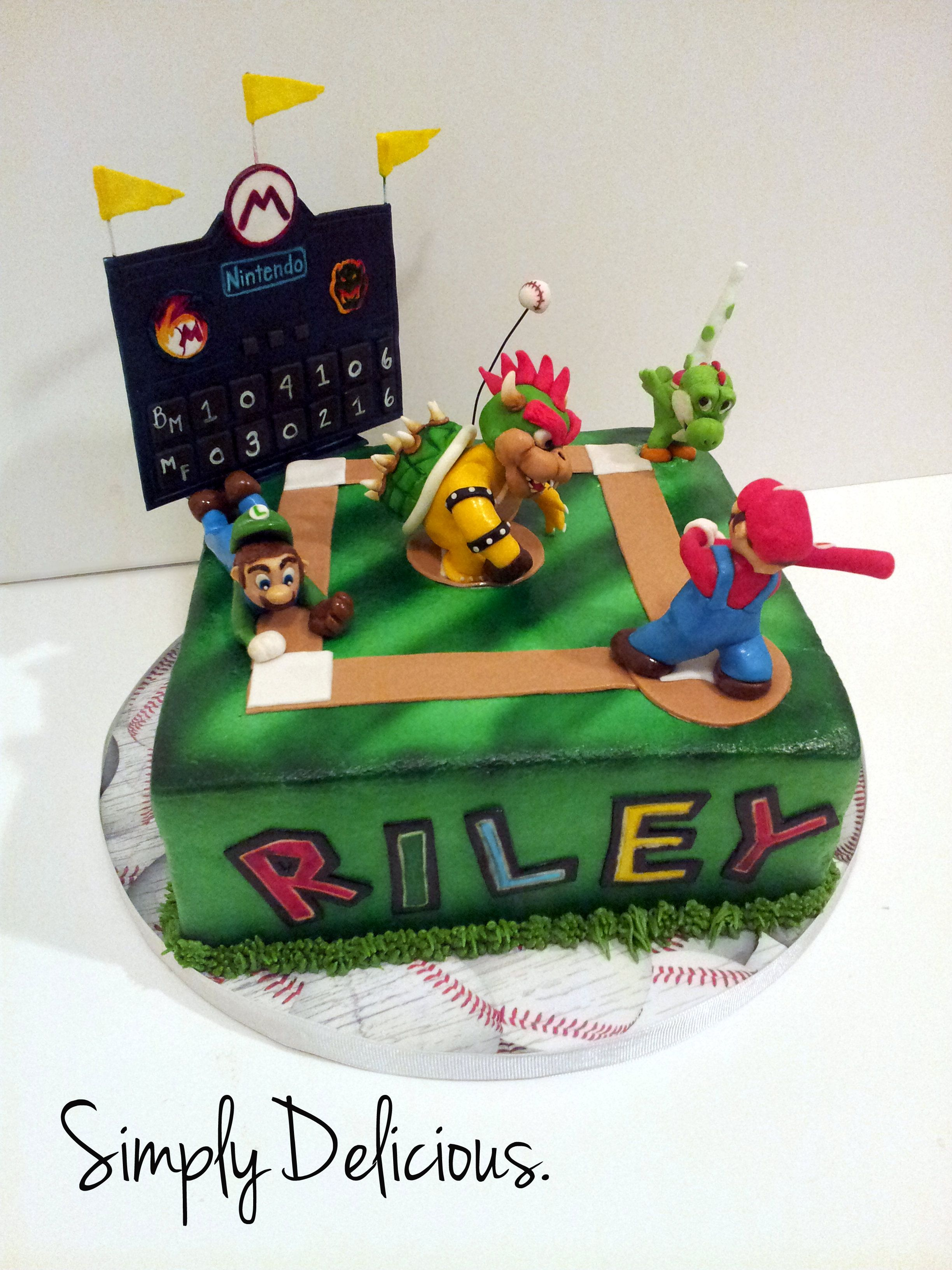 Mario Super Slugger Buttercream With Fondant Accents Gumpaste Figures Cake Luigi Baseball