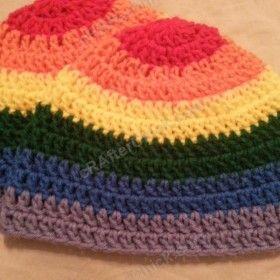 Rainbow Gay Pride Striped Beanie Hat Crochet Pattern for Teen/ Womens / Men sizes ~ free pattern
