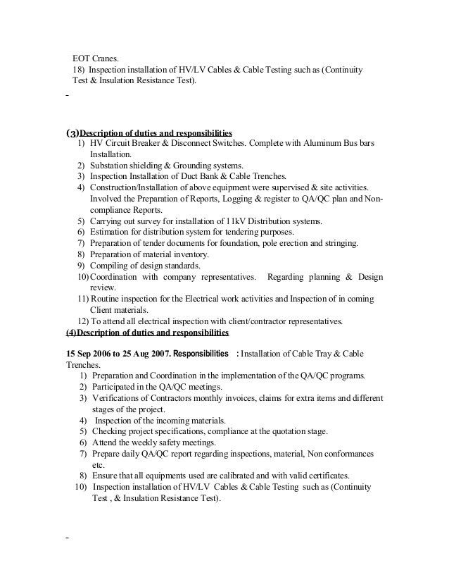 electrical engineer duties and responsibilities CV Electrical QA QC