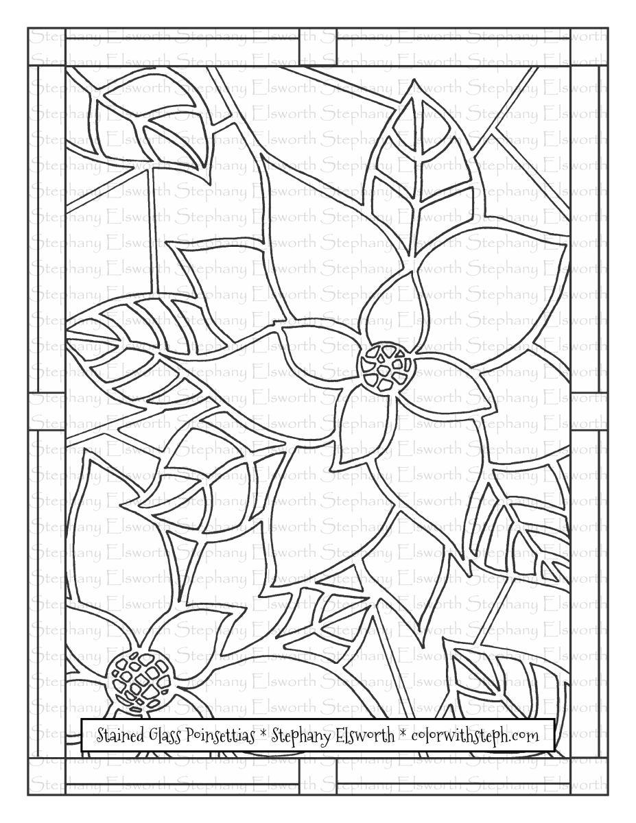 Stained Glass Poinsettias Free Printable Coloring Page Color With Steph Coloring Books And Pages Pattern Coloring Pages Coloring Pages Free Printable Coloring