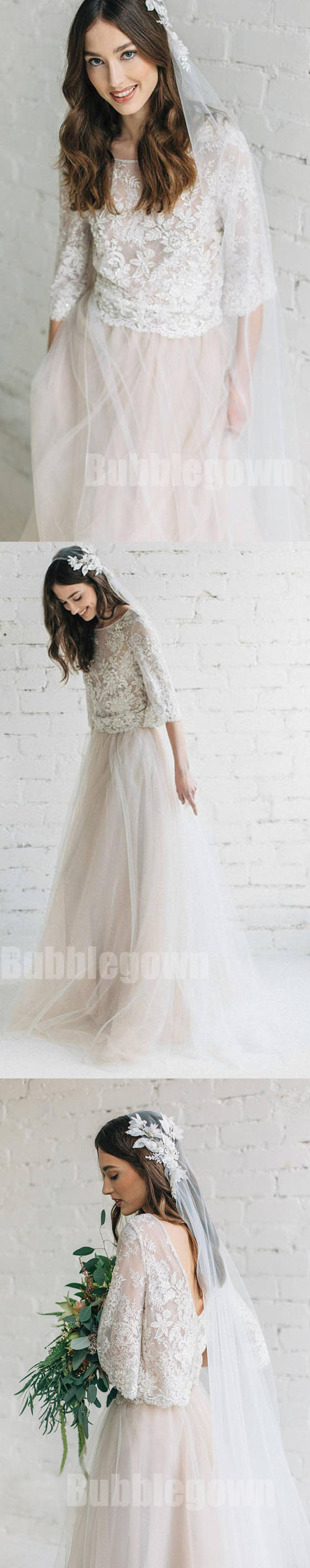 Long sleeves two pieces unique inexpensive lace long wedding prom