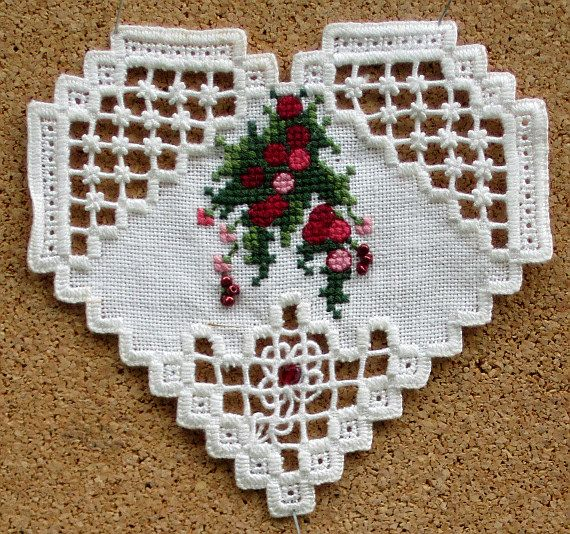 1997 Christmas In My Heart  Hardanger by GoldenThreadSupplies, $4.00