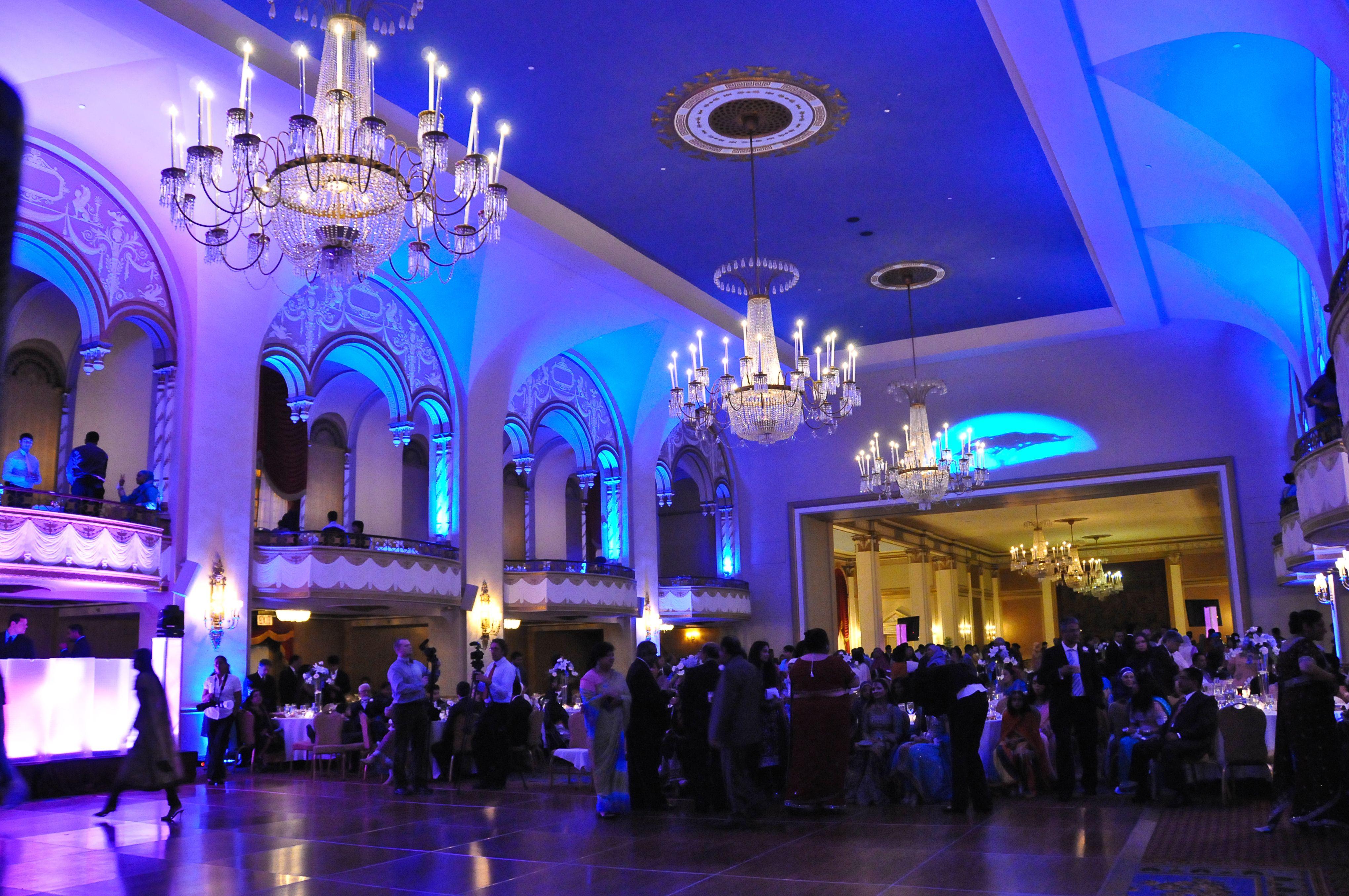 Blue uplighting for a wedding reception by DeeJay Bunty