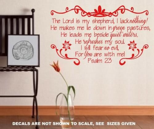 Psalm 23 Bible Quotation Sticker Large Vinyl Decal Psalms Quotations Quote Stickers