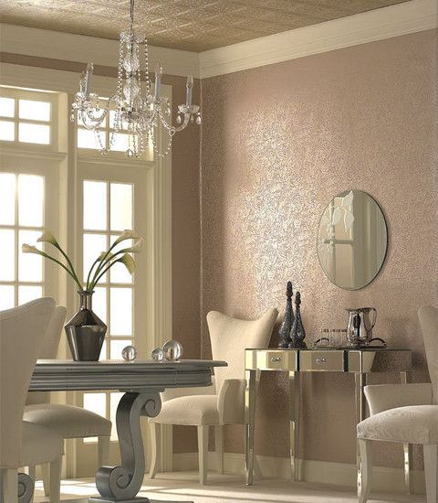 Hollywood Regency dining room colored textured wall + white