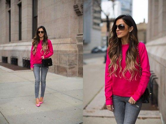 90fbfd161a60 Maria Vizuete - Topshop Hot Pink Top, Zara Gray Jeans, Kurt Geiger Hot Pink  Heels - Hot Pink.