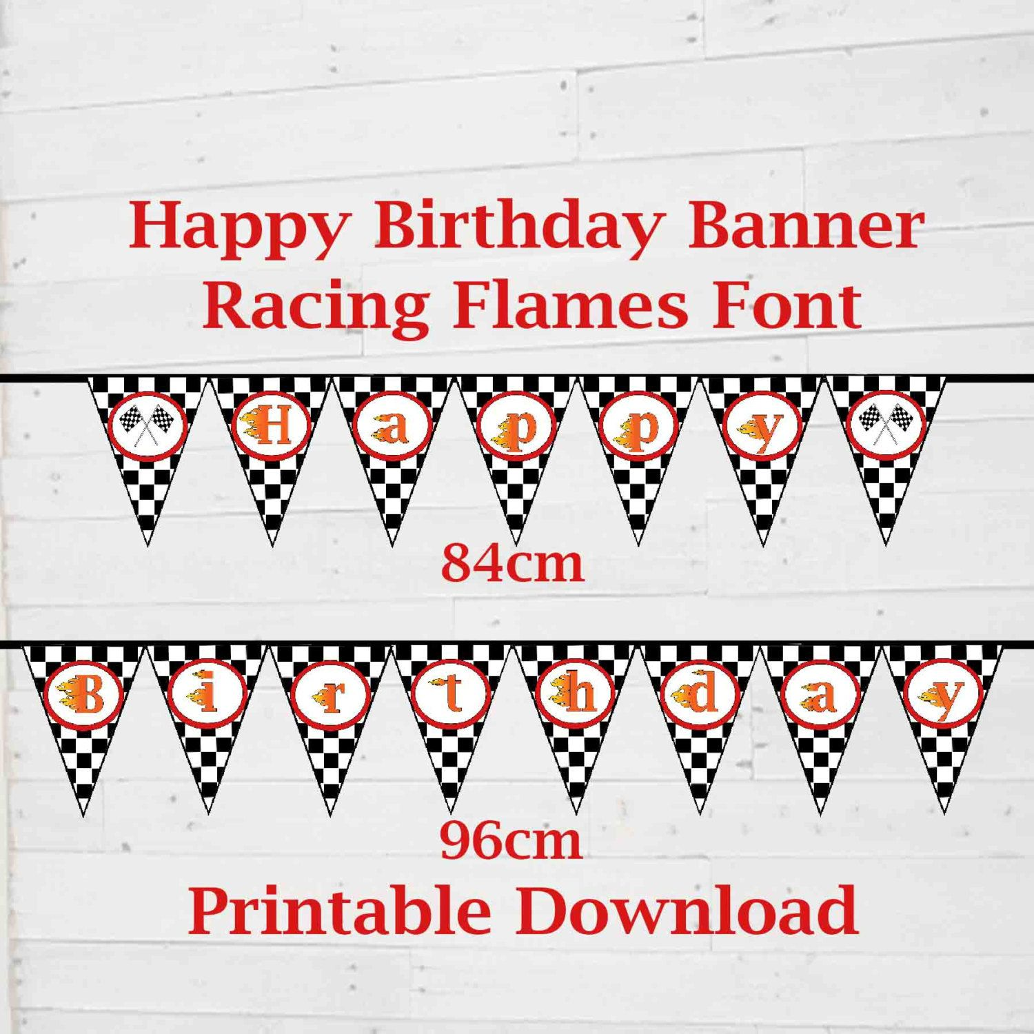 Race Car Theme Happy Birthday Banner Birthday Party Printable