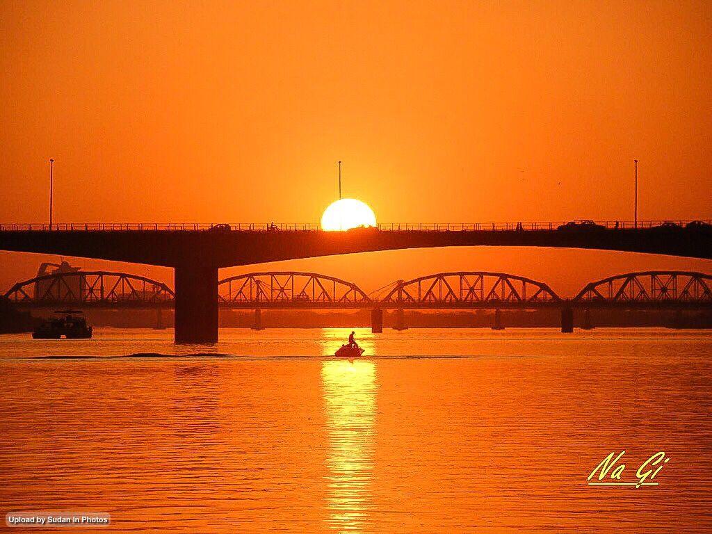 Sunset Over The Blue Nile Khartoum غروب فوق النيل الأزرق الخرطوم السودان By Na Gi Sudan Khartoum Bluenile Sun Photo Orange Color Original Artwork