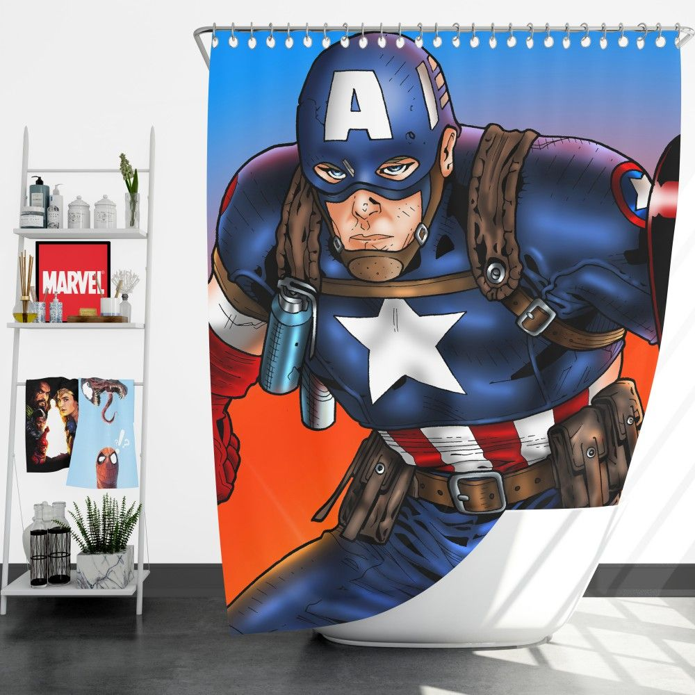 Captain America Avengers Unity Division Shower Curtain Captain America Avengers Superhero