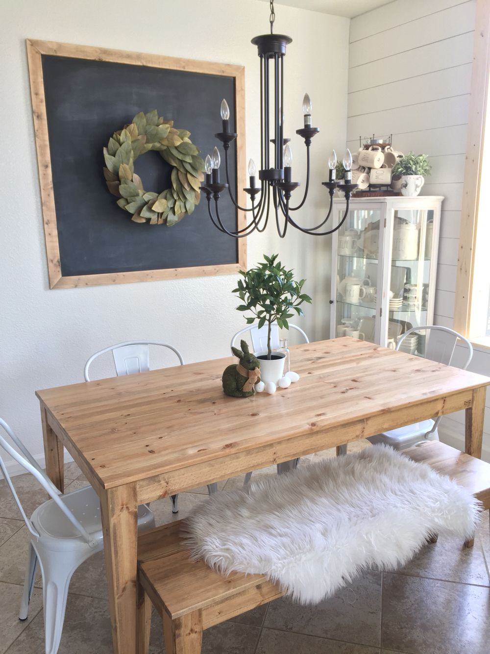 Dining Room IKEA Table With Cute Metal Chairs