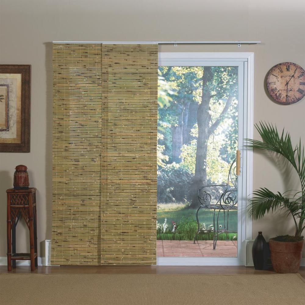 Natural bamboo panel track sliding window shade overstock