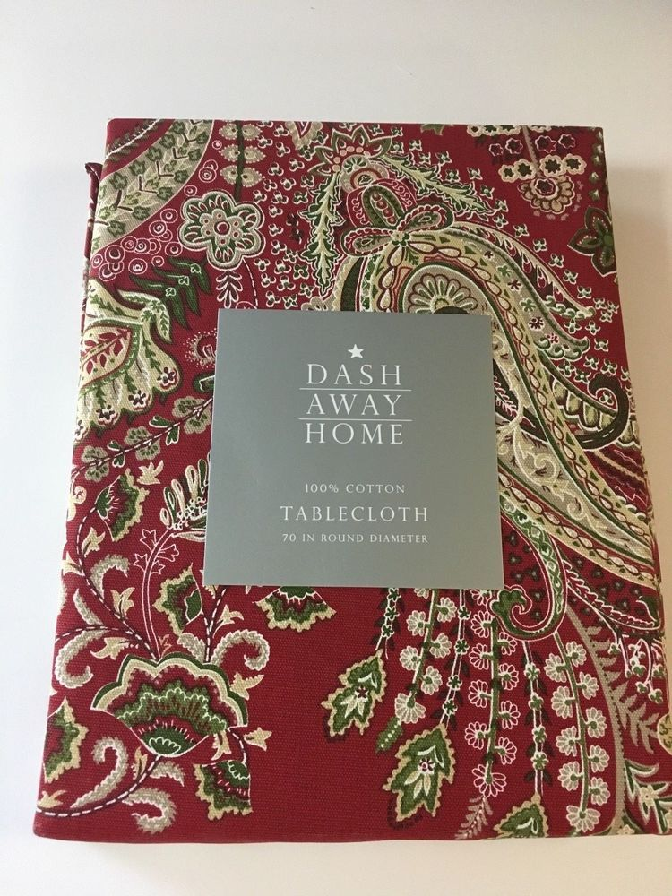 Charmant Dash Away Home Christmas Red Paisley Print Tablecloth Various Sizes Shapes  NWT #DashAwayHome