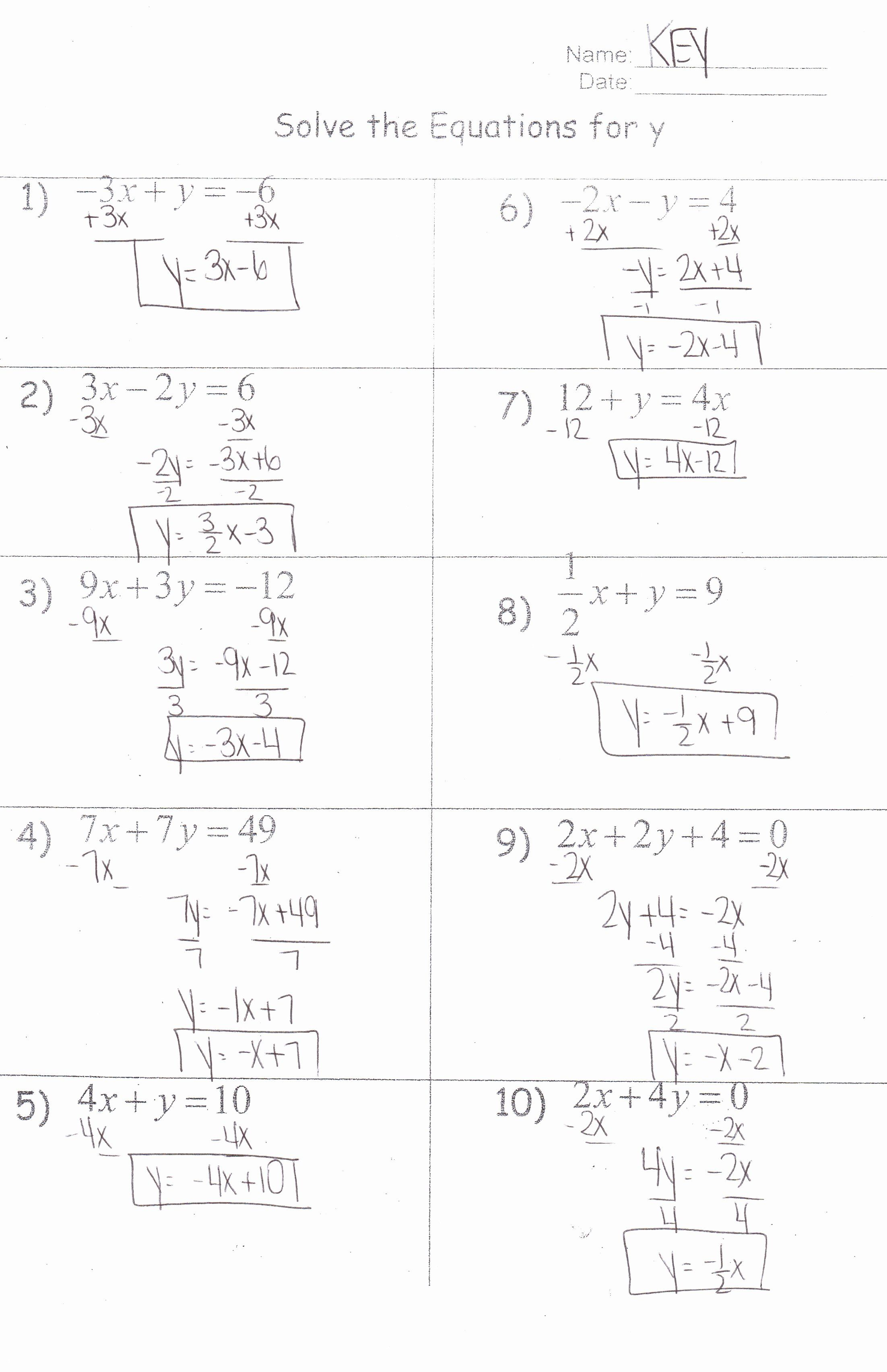 Literal Equations Worksheet Answer Key Elegant Algebra I