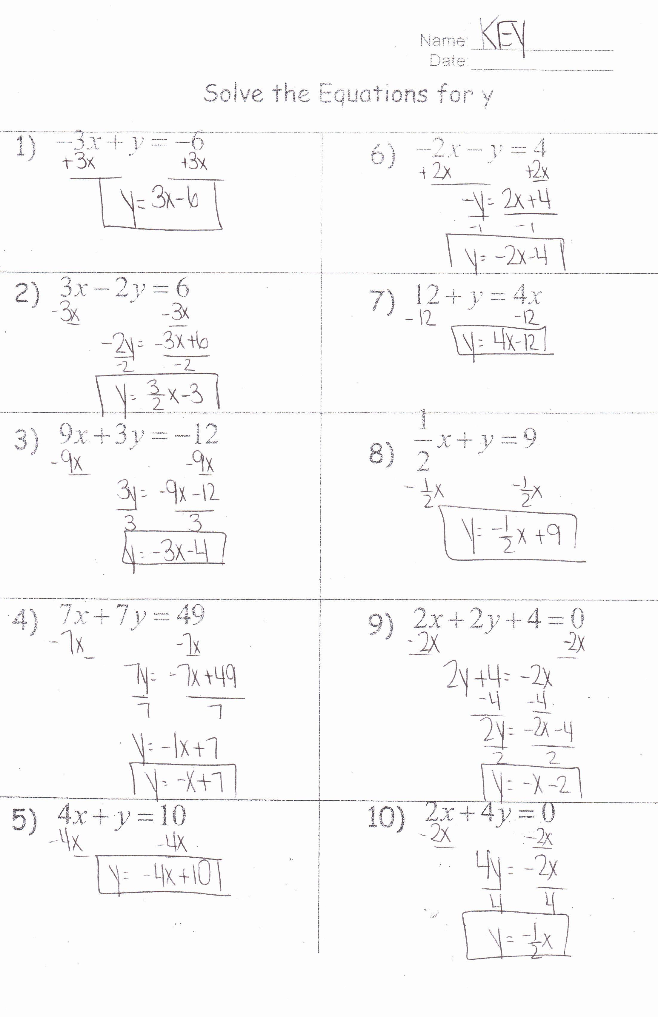 Literal Equations Worksheet Answer Key Elegant Algebra I ...