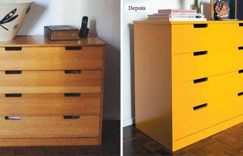 Solução baratinha: cômoda é renovada com tinta amarela