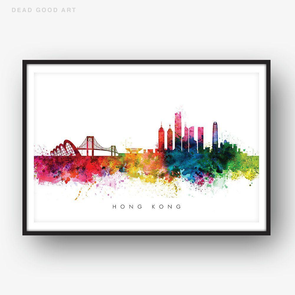 Hong Kong Skyline Multicolor Watercolor Print Cityscape Art Etsy Watercolor Print Street Map Art Cityscape Art