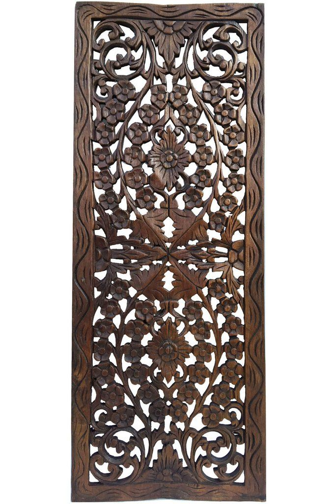 Floral Wood Carved Wall Panel. Wall Hanging. Asian Home Decor ...