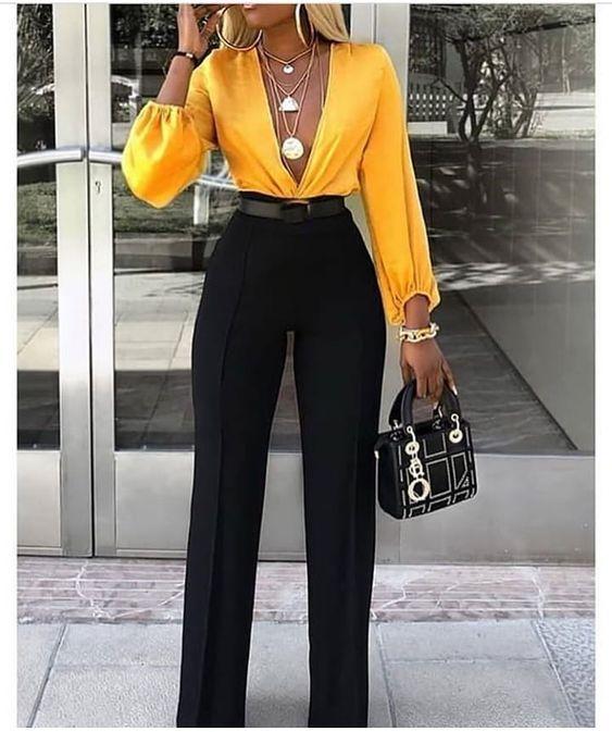 Pantalones De Moda 2019 Para Mujer Negros Hoy Aprenderas Los Mejores Disenos De Pantalones De Vestir De Moda Pantalones D Classy Outfits Fashion Chic Outfits