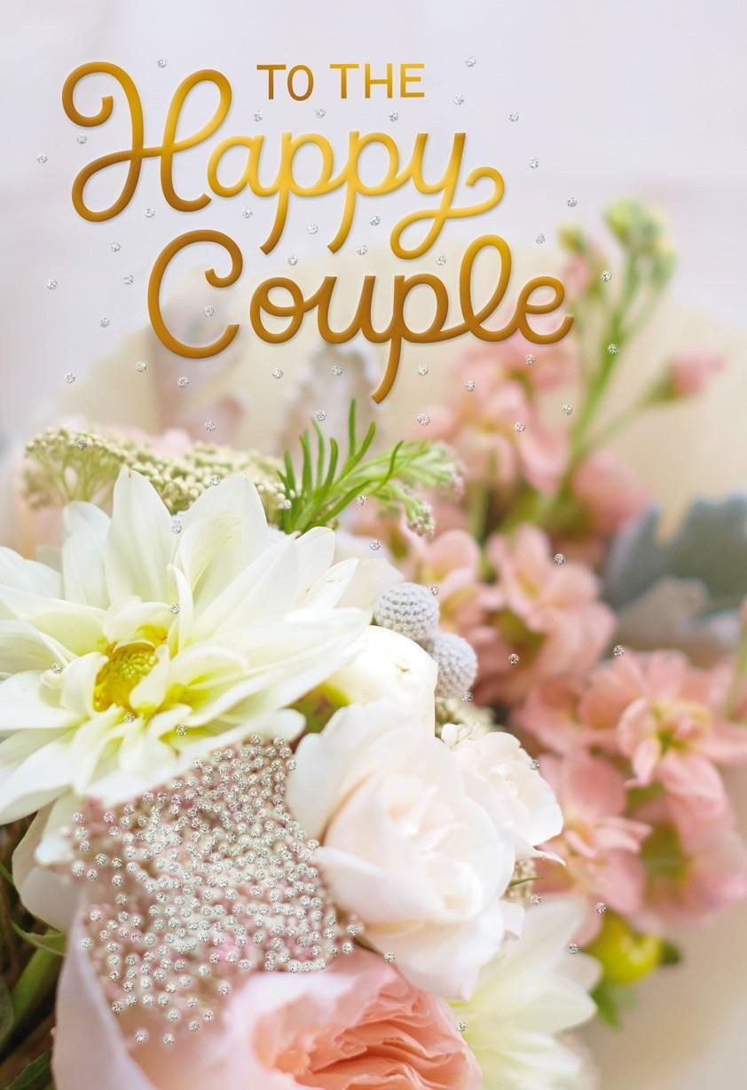 Wish the happy couple good thoughts in this wedding card featuring a
