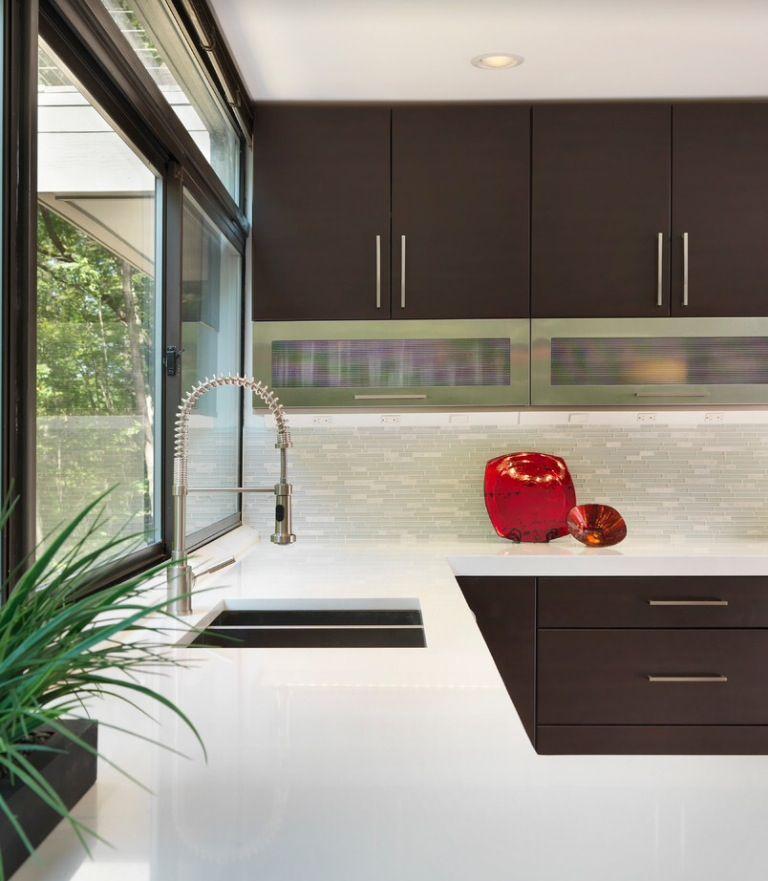 contemporary.. backsplash and floors