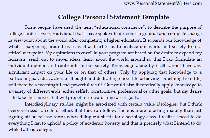 College Personal Statement Template HttpWww