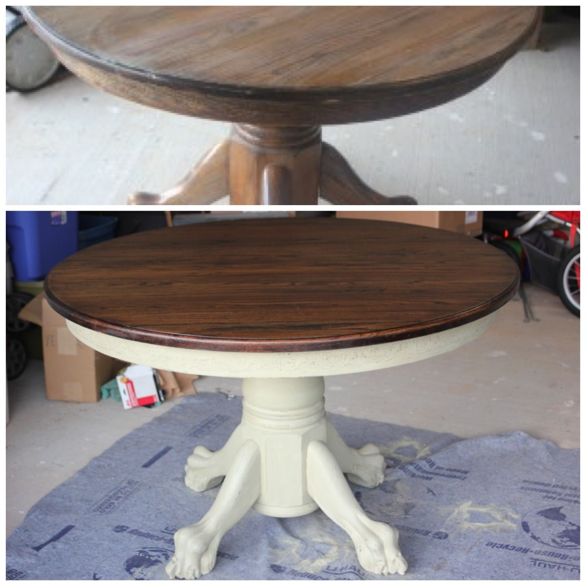 Upcycled Vintage Oak Table With Gorgeous Claw Feet 2 In