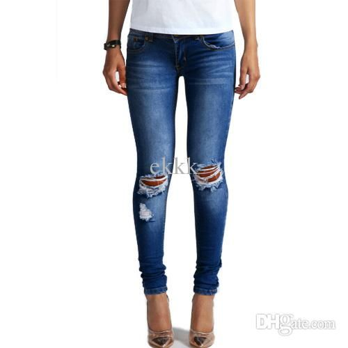 $58 Wholesale 1884 New 2015 Hot Fashion Ladies Cotton Denim Pants Stretch Womens Bleach Ripped Knee Skinny Jeans Denim Jeans For Female By Ekkk Under $58.5 | Dhgate.Com