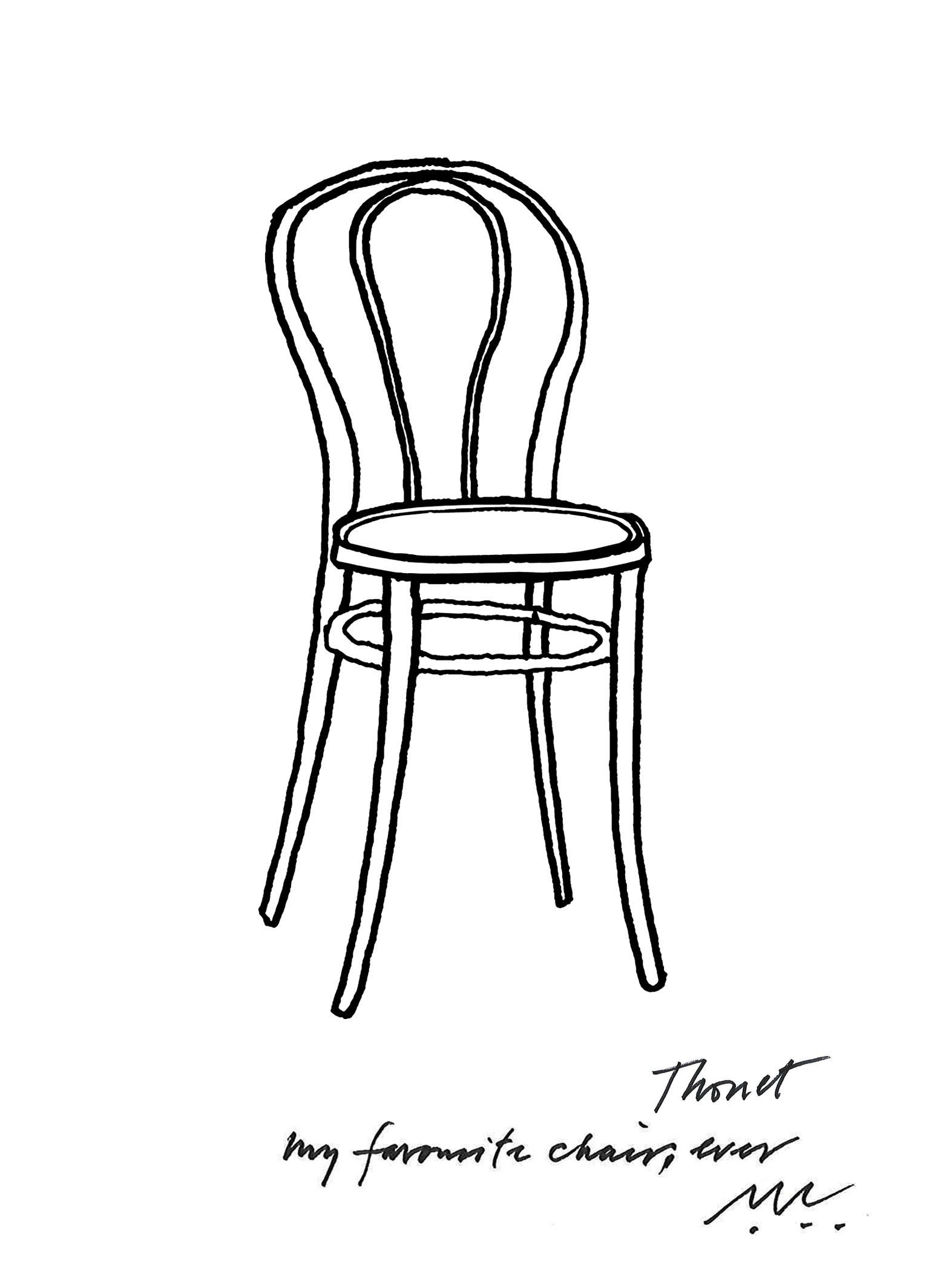 Black and white chair drawing - Sketch Of Thonet Chair By Conran