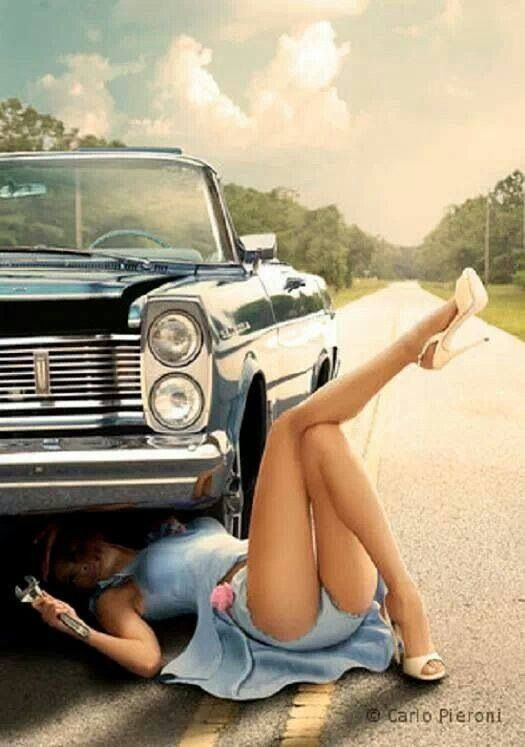 Nude women with cars pinup